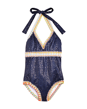 PilyQ Girls' Rainbow Crochet-Detail Swimsuit - Little Kid, Big Kid