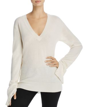 Theory V-Neck Button-Sleeve Cashmere Sweater