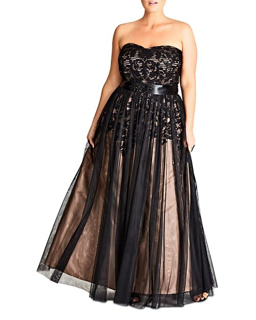City Chic Plus - Strapless Embellished Tulle Gown
