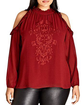 City Chic Plus - Cold-Shoulder Embroidered & Ruffled Top