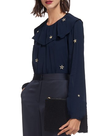 $Whistles Star-Embroidered Ruffled Top - Bloomingdale's