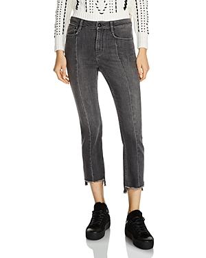 Maje Parla Fringed Step-Hem Faded Cropped Jeans