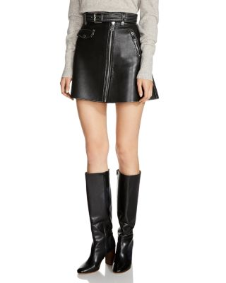 BELTED A-LINE LEATHER MINISKIRT