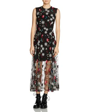 Maje Rosia Hearts & Floral-Print Midi Dress