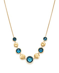 Marco Bicego - 18K Yellow Gold Jaipur Blue Topaz Collar Necklace, 16.5""