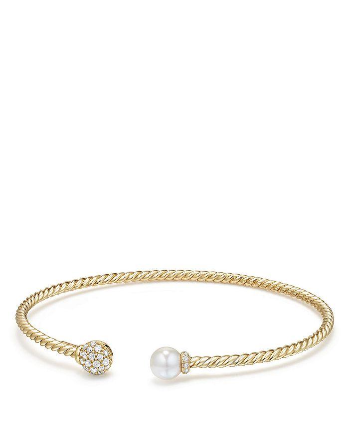 David Yurman - Solari Bead & Cultured Akoya Pearl Bracelet with Diamonds in 18K Gold
