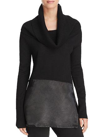 Donna Karan - Cowl Neck Mixed-Media Sweater