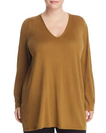 $Eileen Fisher Plus V-Neck Merino Wool Tunic Sweater - Bloomingdale's