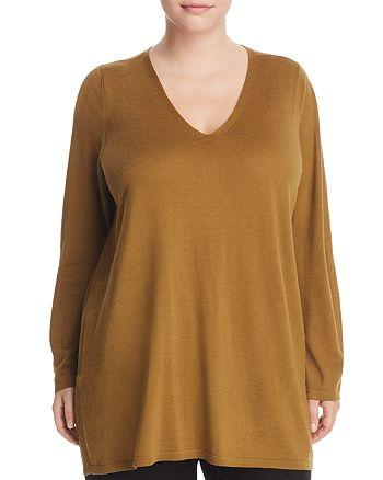 Eileen Fisher Plus - V-Neck Merino Wool Tunic Sweater
