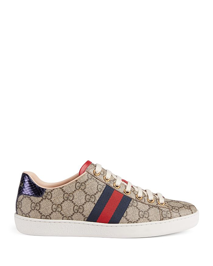 27bfccb04 Gucci Women's New Ace GG Supreme Canvas Low Top Lace Up Sneakers ...
