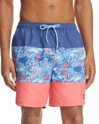 b7476e2dd8 Vineyard Vines Chappy - Tuna In Coral Pieced Print Swim Trunks In Moonshine