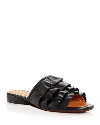 Chie Mihara - Women's Volante Leather Ruffle Slide Sandals