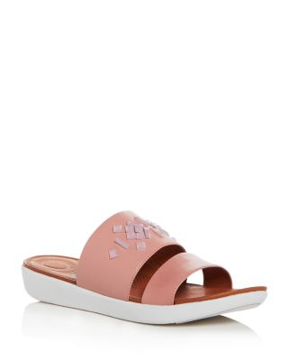 FITFLOP Embellished Leather Delta Slides, Dusky Pink