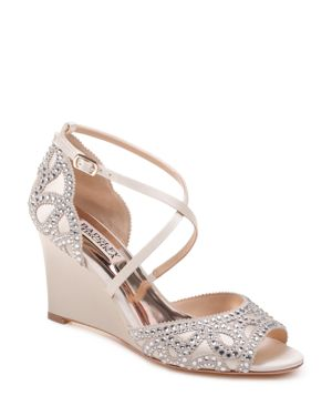 Women'S Winter Embellished Satin Wedge Sandals in Platino Suede