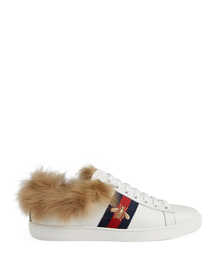 a375494234c Gucci Women s New Ace Leather   Lamb Fur Lace Up Sneakers ...