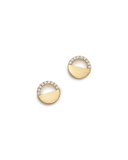 Bloomingdale's - Diamond Half Circle Stud Earrings in 14K Yellow Gold, 0.10 ct. t.w - 100% Exclusive