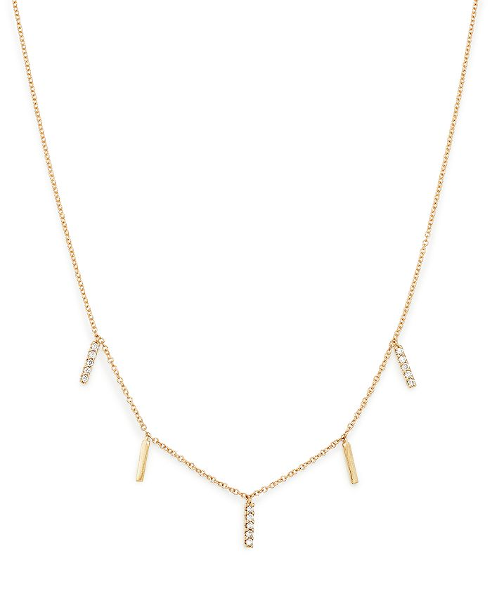 Bloomingdale's - Diamond Bar Charm Necklace in 14K Yellow Gold, 0.15 ct. t.w., 100% Exclusive