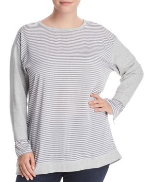 Vince Camuto Plus Mixed Media Sweatshirt