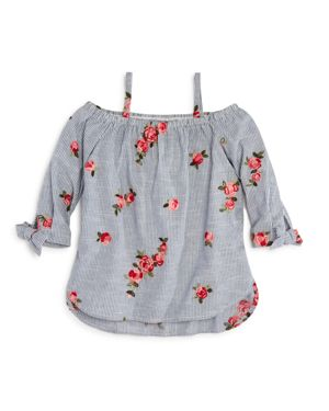 Aqua Girls' Striped & Floral-Embroidered Off-the-Shoulder Top, Big Kid - 100% Exclusive