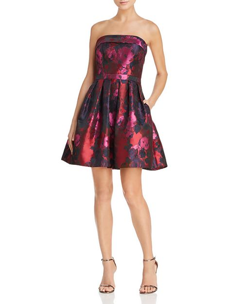 Avery G - Strapless Brocade Dress