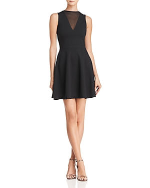 French Connection Viola Mesh-Inset A-Line Dress