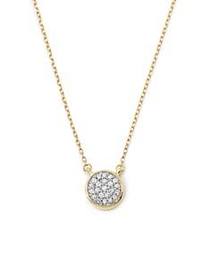 """Adina Reyter - 14K Gold Pavé Diamond Disc Necklace, 15"""""""