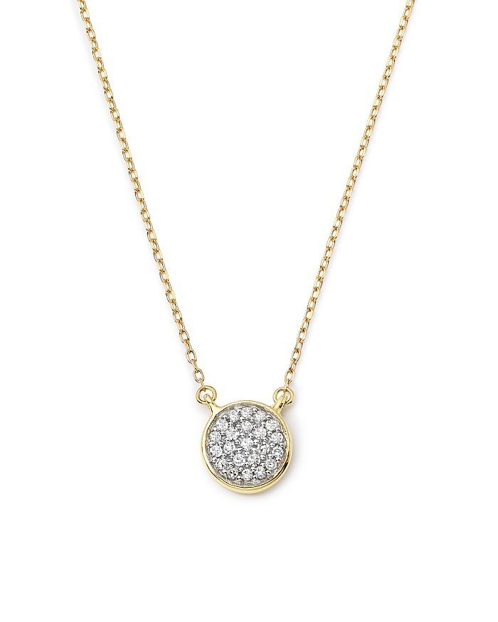 Adina Reyter - 14K Gold Pavé Diamond Disc Necklace, 15""