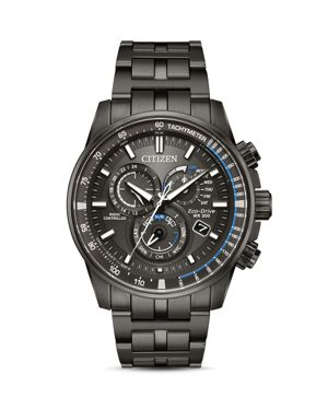 CITIZEN Eco-Drive Men'S Chronograph Perpetual Chrono A-T Gray Stainless Steel Bracelet Watch 43Mm in Grey