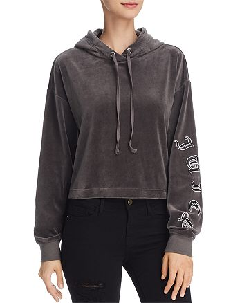 Juicy Couture Black Label - Velour Cropped Hooded Sweatshirt