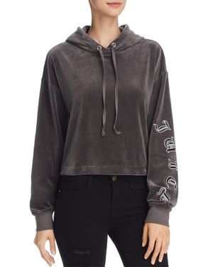 Juicy Couture Black Label Velour Cropped Hooded Sweatshirt