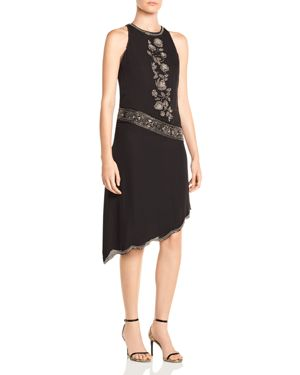 Haute Hippie Mojave Desert Asymmetric Beaded Silk Dress 2805181