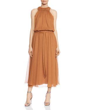 Halston Heritage Ruched Chiffon Dress