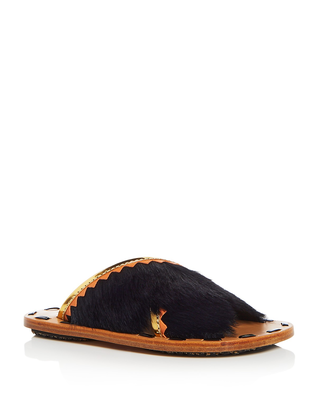 Marni Women's Samsy Calf Hair & Leather Crisscross Slide Sandals 45Wnmhy