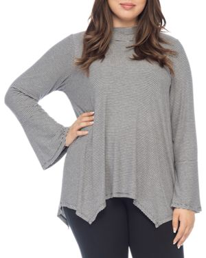 B COLLECTION BY BOBEAU CURVY ANNA STRIPED BELL-SLEEVE TOP