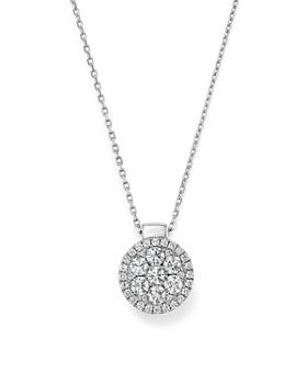 Frederic Sage - 18K White Gold Firenze Diamond Cluster Pendant Necklace, 16""