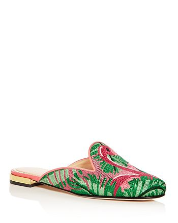 Charlotte Olympia - Women's Flamingo Embroidered Mules
