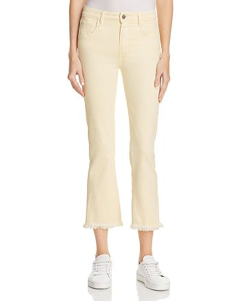 PAIGE - Colette Crop Jeans in Pastel Yellow - 100% Exclusive