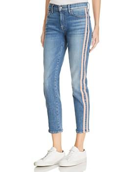 7 For All Mankind - Roxanne Side-Stripe Skinny Jeans in Vintage Blue Dunes