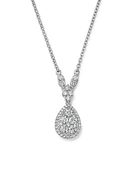 Bloomingdale's - Diamond Cluster Teardrop Pendant Necklace in 14K White Gold, 1.0 ct. t.w. - 100% Exclusive