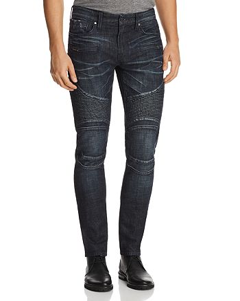 GUESS - Pintuck Slim Fit Moto Jeans in Dark Blue