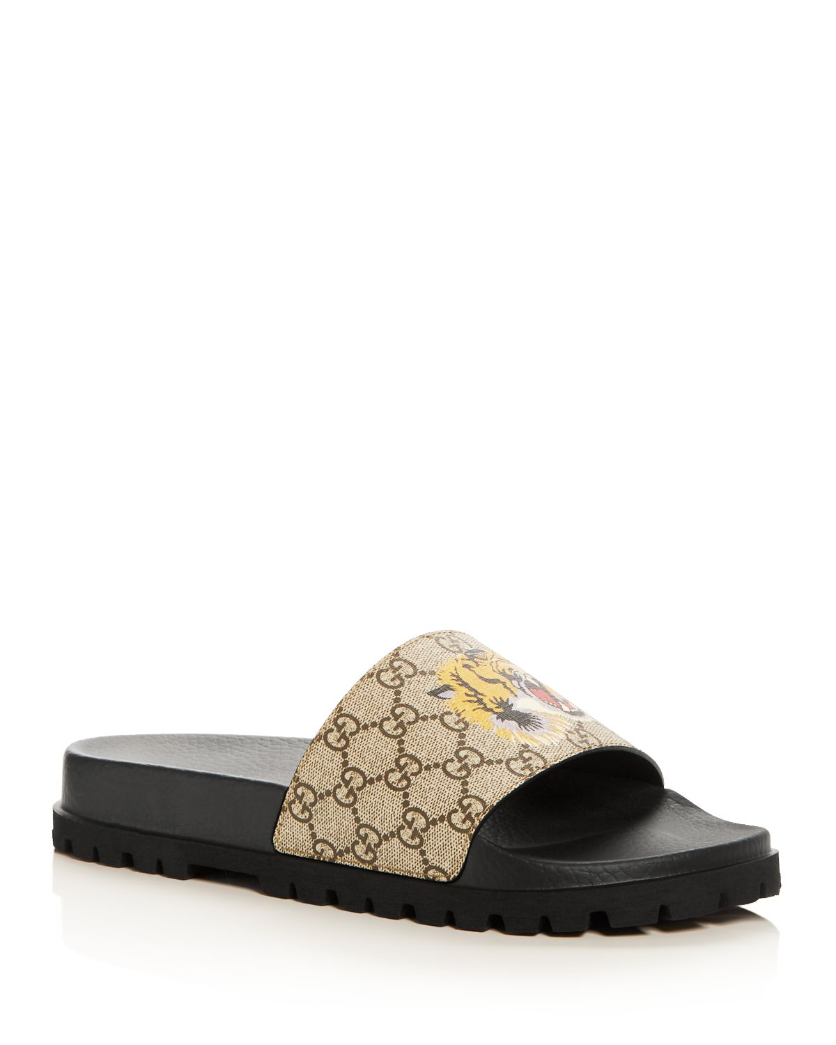 Men's Gg Supreme St. Tiger Pool Slide Sandals by Gucci