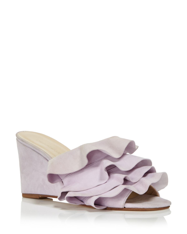 CREATURES OF COMFORT Women's Keira Ruffled Suede Wedge Slide Sandals