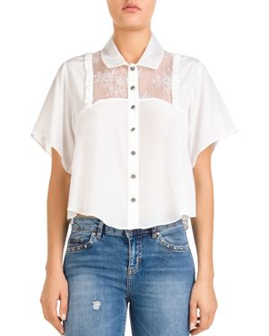 The Kooples Lace-Inset Button-Down Cropped Top