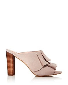 Avec Les Filles - Women's Mallory Suede Ruffle Block Heel Slide Sandals - 100% Exclusive