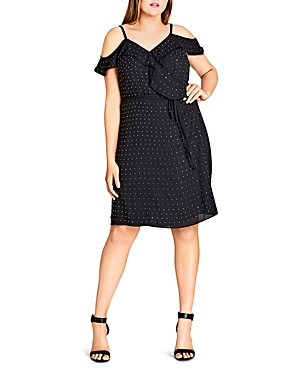 City Chic Off-the-Shoulder Bling Dress
