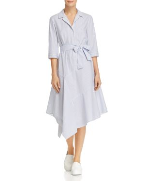 Lafayette 148 New York Casimir Striped Midi Shirt Dress