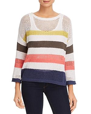 Three Dots Striped Open-Weave Sweater