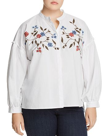 VINCE CAMUTO Plus - Embroidered Bishop-Sleeve Top