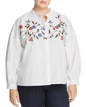 Vince Camuto Plus Embroidered Bishop-Sleeve Top