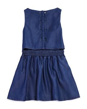 Armani Junior - Girls' Sleeveless Denim Dress with Back Heart Cutouts - Big Kid